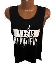 Life is Beautiful Black Tank Top T Shirt size L Large