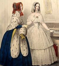 LE FOLLET 1845 Hand-Colored Fashion Plate #1226 Women in Blue & White FUR Print