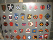 US ARMY DIVISIONS PATCHES FROM 1st -70th 40 PATCHES LOT COLLECTION DISPLAY BOARD