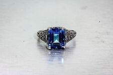 Estate 6ct Natural London Blue Topaz Sterling Silver Filigree Ring