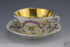 Hand Painted Early Pink Rosebud Swags Gold Gilt Cup and Saucer - Incised 2