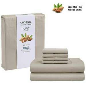 Pure earth organic 100% Cotton 300 Thread Count 6-pc Queen Sheet Set Amond NEW