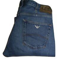Mens AJ Armani J21 Regular Fit Blue Stretch Denim Jeans W33 L32 Straight