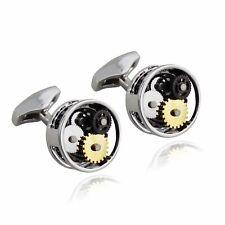 Round Gear Cuff Links Stainless Steel Clockwork Gears Steampunk Cufflinks Gift