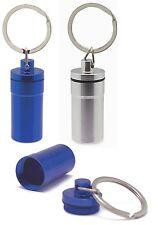 Porte Clés PILULIER étanche en métal au choix bleu ou argent