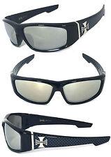 Choppers Cross Logo Mens Motor Sunglasses - C39 Black Frame/ Clear Mirror Lens