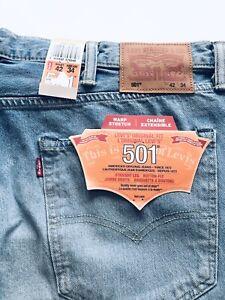 NEW BIG & TALL MENS LEVI'S 501 Original Light Blue Denim Jeans W42 L34 Stretch