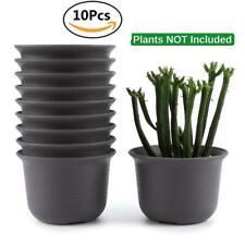 10 Pcs Nursery Flower Pot Plastic Succulent Planter Round Bonsai Garden DecorNEW