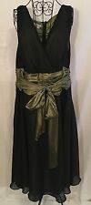 London Times Woman Sz 22W Black + Green Sleeveless Mid-Calf Empire Waist Dress