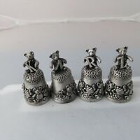 Pewter thimble design of a teddy bear carrying an initial - Choose yours