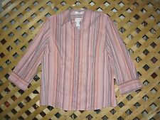 Villager Pink & Gray Striped Stretch Cotton Blend Blouse / Top Size 16 NEW