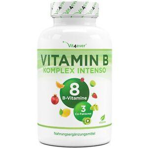 Vitamin B Komplex 180 Kapseln - Alle 8 B-Vitamine + 3 Co-Faktoren - Vegan
