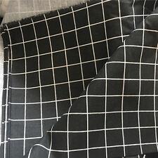 50x150 Cotton Linen Fabric DIY Bag Cushion Table Cover Black white Check 11-5 F