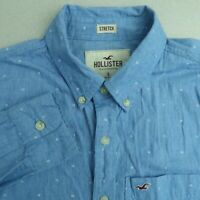 Hollister Button Up Shirt Mens Small Blue Long Sleeve Geometric Stretch Casuals