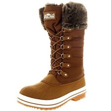 Winter Tan Boots Snow Fur Warm Insulated Waterproof Zipper Shoes Size 9 Women's