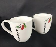 Starbucks Holiday Coffee Tea Mugs 2 pc Set ~ 13 oz White Mittens Birds Christmas