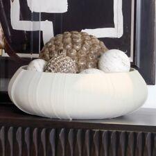 Soft White Striated Textured Centerpiece Bowl | Large Wide Decorative Ceramic