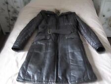 BELSTAFF BROWN LONG LEATHER AVIATOR TRENCH QUILTED COAT JACKET IT 40/ UK 8