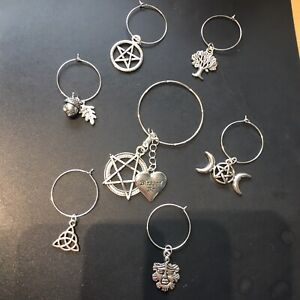 Wine Glass Charms Set 7 Pagan Wiccan Pentagram With Wine Bottle Charms  handmade