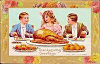 Thanksgiving~CHILDREN EAT~TABLE~APPLES~Gold FRUIT FLOWER BORDER~Antique Postcard