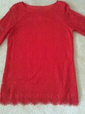 V Cristina Small Red Lace Lined Tunic Top 3/4 Sleeve