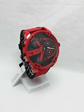 Diesel Mr Daddy Red  Rubber Band Black Dail With Date Men's DZ7431