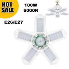 US 100W LED Garage Light Bulb Deformable Ceiling Fixture Lights Workshop Lamp