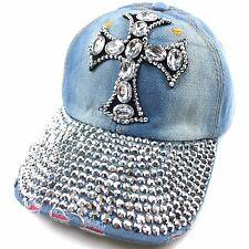 Rhinestone Crystal Cross Studded Stone Visor Light Denim Baseball Bling Hat Cap