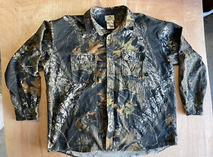 Vintage Mossy Oak Original Tree Stand Camo Button Shirt 2XL XXL USA Made