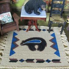 Vtg Dollhouse BEAR RUG Southwest Western Turquoise Natural Native American Style