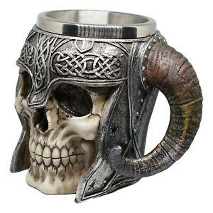 Resin Horned ancient Viking warrior skull mug stein for beverage beer coffee mug