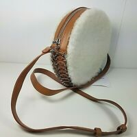 Paco Rabanne Shoulder Bag crossbody purse round  leather shearling fur white