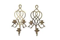 """Brass Scroll Wall Sconce Pair Ornate 3 Taper Candle Holder 16"""" Tall 7"""" Wide VTG"""