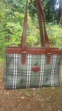 Authentic Vintage Burberry Large Rare Green Traditional Check Bag Purse Shopper