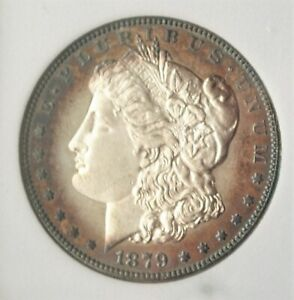 1879-S SILVER MORGAN Dollar $1 GEM  FROSTY/ RIM TONING/ REV CLEAR