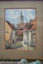 SPANISH VILLAGE WITH CHURCH SPIRE ON BACKGROUD--Exquisite detailed watercolor