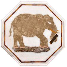 "12""x12"" Elephant Design White Marble Inlay Table Top Handicraft Work Home Decor"