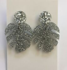 Monstera Leaf Dangle Earrings, Silver Glitter Acrylic, Surgical Stud, Tropical