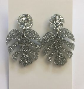 Monstera Leaf Dangle Earrings, Silver Glitter Acrylic, Surgical Stud, Tropical
