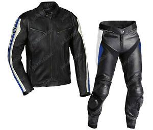 Mens BMW Racing Biker Leather Suit Motorbike/Motorcycle Leather Jacket Trouser
