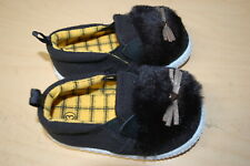 Baby Girls Shoes Navy Blue Slip On Loafers Fabric Fuzzy Cat Face Ears Size 3