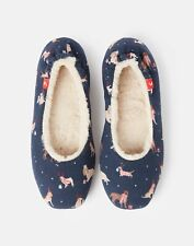 Joules Womens Dreamwell Slip On Slippers - Xmas Dogs - S