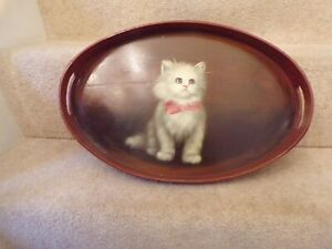 Wooden tray with handles WITH PAINTED PICTURE OF LONGHAIRED CAT KITTEN 17.5""