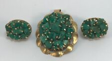 Rough Emeralds On 18Kt Yellow Gold Earrings & Pendent, 26.50 Grams