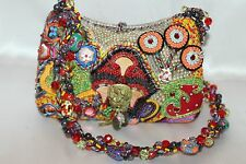 MARY FRANCES Multi Color Beaded Ribbon Asian Dragon Clutch Shoulder Bag