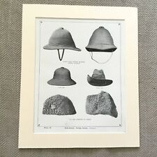 Antique Military Print Uniform British Army Pith Helmet Hat Foreign Service Cap