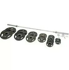 Fitness Gear 300lbs Olympic Weight Set 7ft Barbell w/ clamps SHIPS FAST BUY NOW