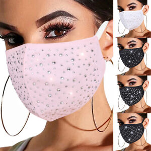 Breathable Face Mask Crystal Rhinestone Glitter Diamonte Sparkle Reusable Party>