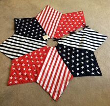 """60"""" US Flag Christmas Tree Skirt Trimsetter by Dillards Embroidered retail$199"""