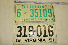 PM69: Nummernschilder Sammlung Auflösung Raritäten USA Florida Verginia 1951